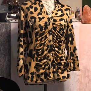Animal print top with bling buttons